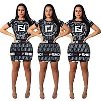 FENDI Summer Newest Women Sexy Print Short Sleeve Dress