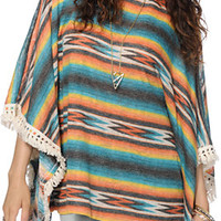 See You Monday Ombre Fringe Poncho