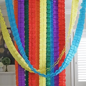 Rainbow 3D Four Leaf Tissue Flower Hanging Streamers Party Decor Backdrop Blue Yellow Green Purple Red Orange