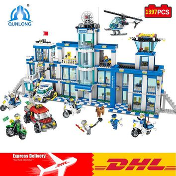 DHL Qunlong Blocks Police Station Set Building Blocks Compatible Legos Minecraft City Action Toy Figures Assembled DIY Model Toy