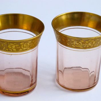 Pink with gold trim shot glass needle etch