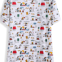 Snoopy Print Short Sleeve T-shirt