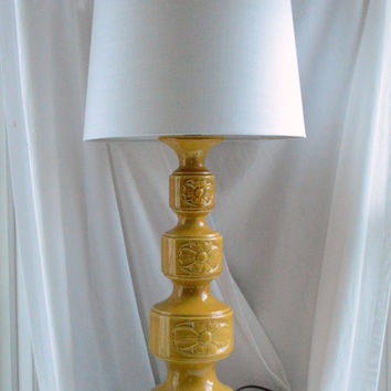 1970s Ceramic Lamp / Retro Yellow Lamp / Floral Lamp / Vintage Ceramic Lamp  / Unique