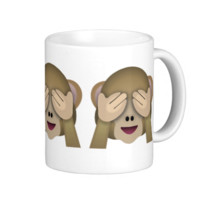 See No Evil Monkey Emoji Mugs