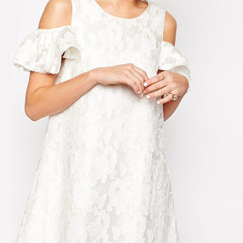 White Lace Floral Off-shoulder Mini Dress