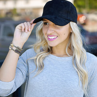 Faux Suede Baseball Hat (Black)