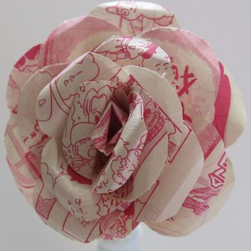 "Large 4"" comic book paper rose, Red & white color, Japanese print Manga, floral decoration anime cartoon"
