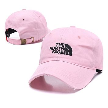 The North Face Summer Women Men Embroidery Sports Sun Hat Baseball Cap Hat Pink