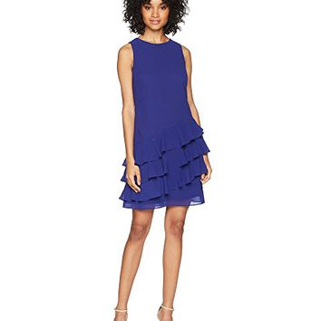 Vince Camuto Sleeveless Shift Dress with Ruffle Details