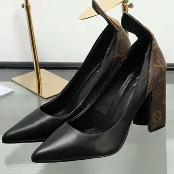 LV Louis Vuitton 2018 counter new women's beautiful fashionable high heels F-OMDP-GD black