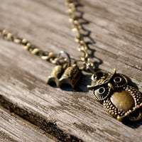 Vintage style owl and book pendant - with chain