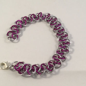 Chainmail bracelet, Shenanigans weave, zig zag chainmail bracelet, chainmail jewelry, pink bracelet, gift for her, under 20