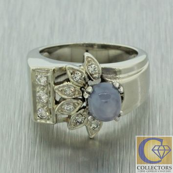 Antique Art Deco Style 14k Solid White Gold Star Sapphire Diamond Cocktail Ring