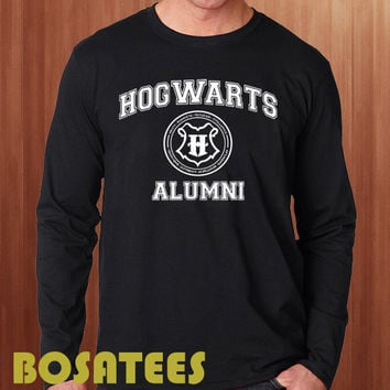 hogwarts alumni shirt harry potter long sleeve printed black and white unisex size (BS-75)
