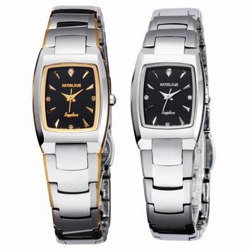 Scratch resistant tungsten steel couple watch female table fashion leisure movement quartz water-resistant imports-WatchHands Silver