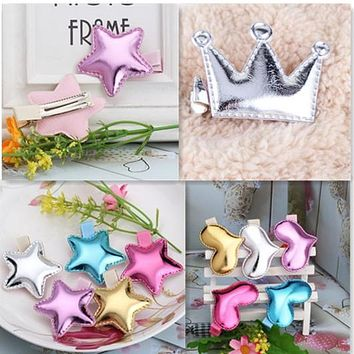 Cute Style Hair Accessories New Design Leather Shiny Star Head Accessories Girls Heart Crown Hairpins kids accessories Hair Clip