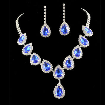 Bridal jewelry sets wedding bridesmaid royal blue crystal earrings and necklace for women accessories