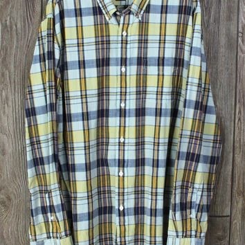 Nice Grayers New Cotton Plaid Shirt size XXL Mens Yellow Blue Casual 85.00 Nordstrom