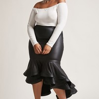 Plus Size ETA Tiered High-Low Skirt