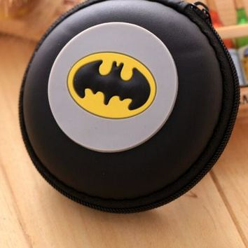 Brand New DC Comics Batman Cosplay Black Logo Round Purse Coin Bag