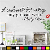 Marilyn Monroe - A Smile is the Best Makeup Any Girl Can Wear Vinyl Wall Decal