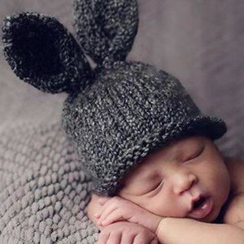 Baby Rabbit Ears Knitted Hat Infant Toddler Winter Cap for Children 0-3 Months Girl Boy Accessories Baby Photography Props