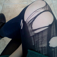 grunge ripped, black tights