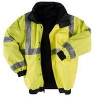 "Neese Viz 9400SJ PVC/Oxford Polyester ANSI Class 3 High Visibility ""Bomber"" Jacket with Removable Hide-Away Hood And Fleece Liner, Elastic Cuff, 3X-Large, Lime"