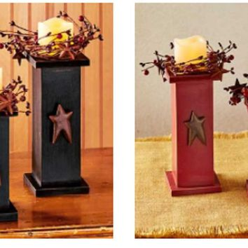 Flameless LED Pedestal Candles Set of 2 Black or Red Rustic Distressed Finish