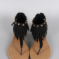 Studded Double Layer Fringe T-Strap Flat Sandal