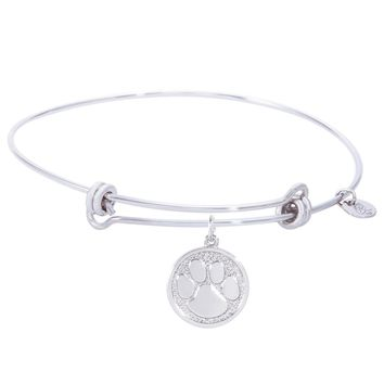 Sterling Silver Balanced Bangle Bracelet With Pawprint Charm
