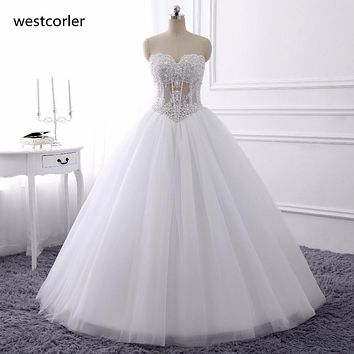Luxurious Bling Strapless Wedding dresses Corset Bodice Sheer Bridal Ball Crystal Pearl Beads Rhinestones Tulle Wedding Gowns