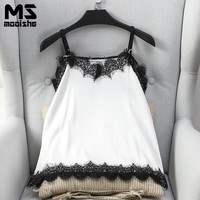 Mooishe Summer Sexy Women Lace Cami Strapless V Neck Patchwork White Smooth Women Camis Tank Tops