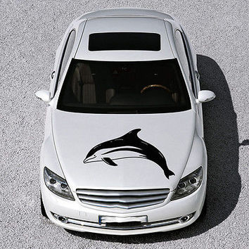 ANIMAL DOLPHIN CUTE FISH DESIGN HOOD CAR VINYL STICKER DECALS ART MURAL SV1576
