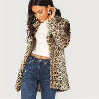 Multicolor Elegant Highstreet Leopard Print Stand Collar Fuzzy Coat Office Lady Women Coats And Outerwear