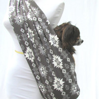 Pet Sling Dog Carrier-Aztec Print Grey and White
