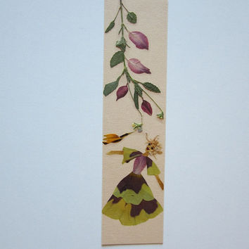 "Handmade unique bookmark ""Dialogue"" - Decorated with dried pressed flowers and herbs - Original art collage."