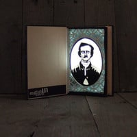Edgar Allan Poe Book Light -- paper cutout portrait lamp, black & white, LED lamp, vintage navy and gold book, recycled, upcycled, art book