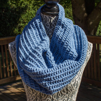 Crocheted Blue Infinity Scarf