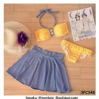 Striped and Yellow 3 Piece Swimsuit Set Top, Bikini Bottom and Skirt (XS/S/M) 348 - Smoky Mountain Boutique