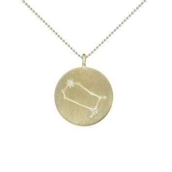 Gold Zodiac Pendant with Diamonds - Gemini