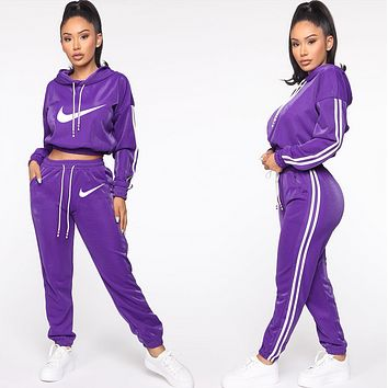 NIKE Popular Women Leisure Round Collar Logo Print Pullover Sweater Pants Trousers Set Two-Piece