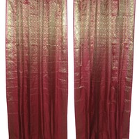 Mogulinterior 2 Maroon Gold Brocade Indian Sari Curtains Drapes Panels Window Treatments