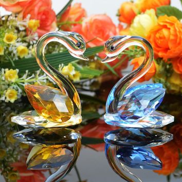 1 Piece 3 Colors Crystal Swan Crafts Handmade Glass Animal Figurines Miniature Home Decor Gifts