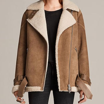 ALLSAINTS US: Womens Hawley Oversized Shearling Biker Jacket (SAND BROWN/ECRU)