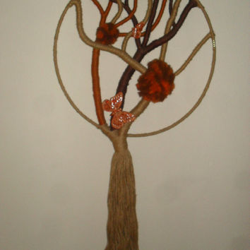 Vintage Unique, Handmade FIBER Art Wall Hanging Macrame Tree of Life- Very Cool, Eames