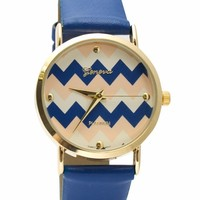 Zigzag Faux Leather Watch