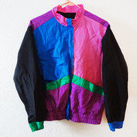 90s Neon Colorblock Windbreaker - small -