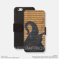 Elephant on wood iPhone Samsung Galaxy leather wallet case cover 115