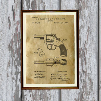Revolver poster Pistol patent print Vintage style wall decor AKP20